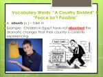 vocabulary words a country divided peace isn t possible3
