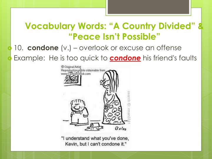 """Vocabulary Words: """"A Country Divided"""" & """"Peace Isn't Possible"""""""