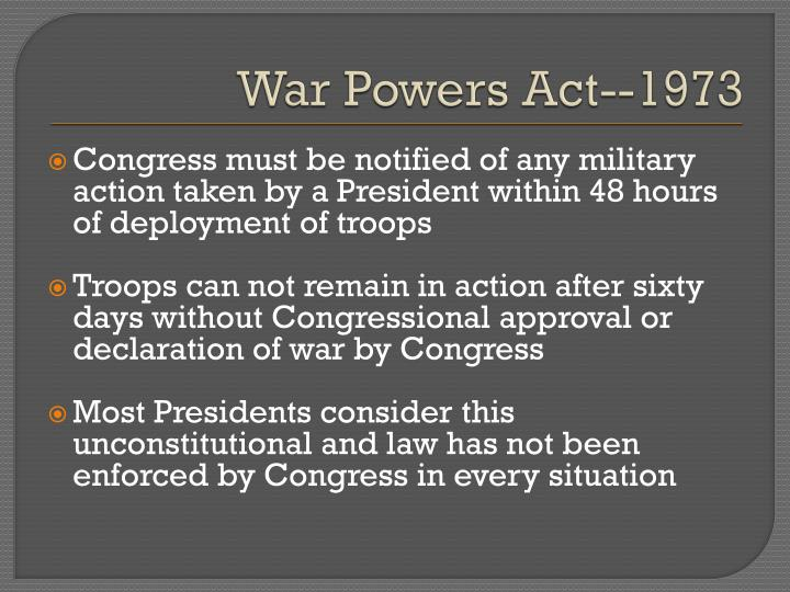 War Powers Act--1973