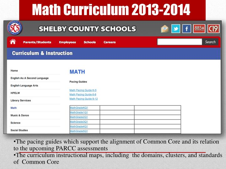 Math Curriculum 2013-2014