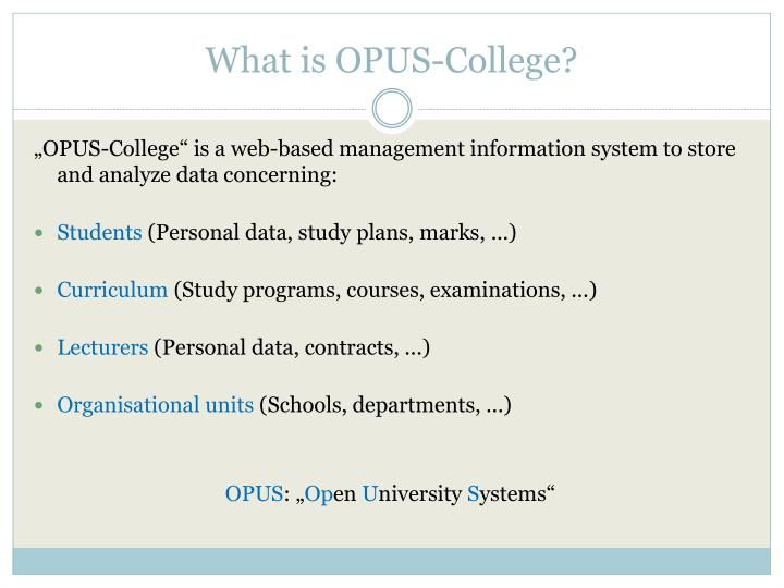 What is OPUS-College