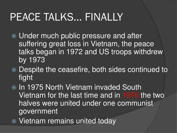PEACE TALKS… FINALLY