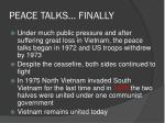 peace talks finally