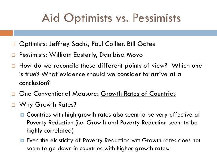 Aid Optimists vs. Pessimists