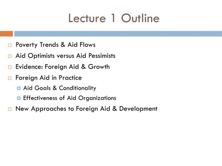 Lecture 1 Outline