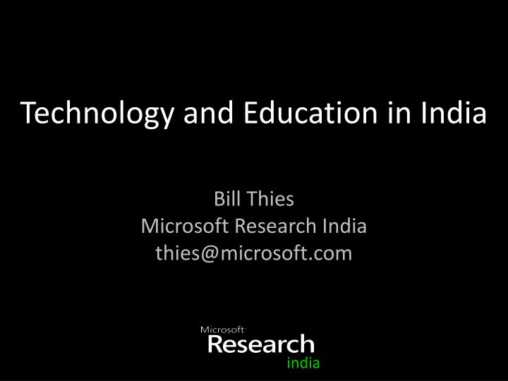 Technology and education in india