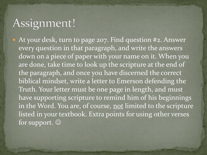 Assignment!