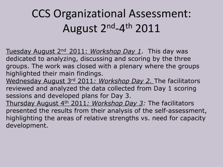 CCS Organizational Assessment: August 2