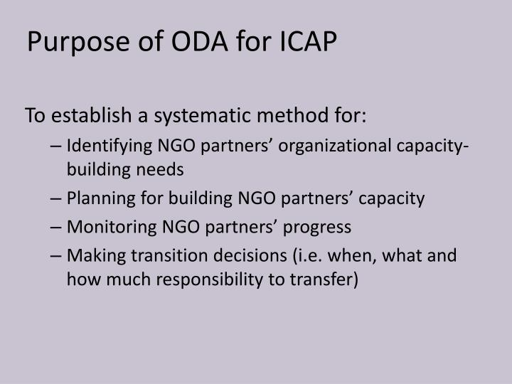 Purpose of ODA for ICAP