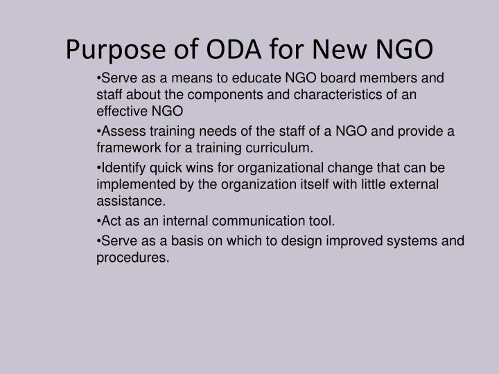 Purpose of ODA for New NGO