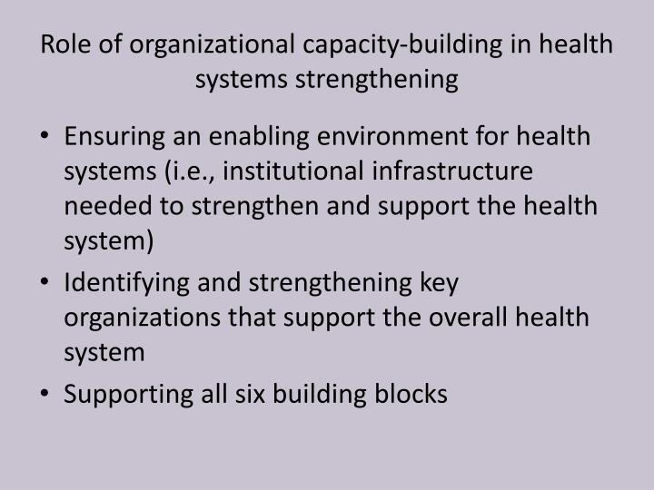 Role of organizational capacity-building in health systems strengthening