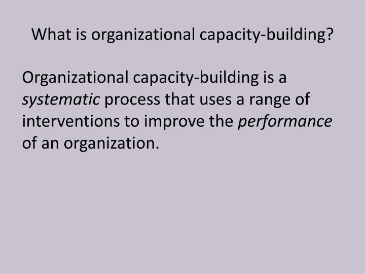 What is organizational capacity-building?