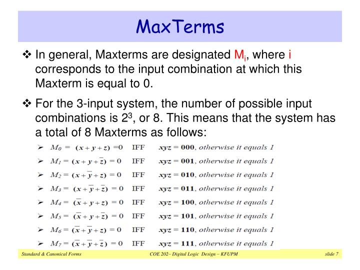 MaxTerms