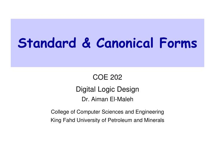Standard canonical forms