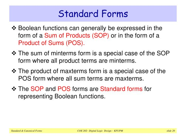 Standard Forms