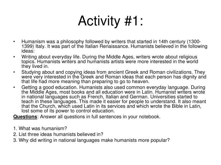 Activity #1: