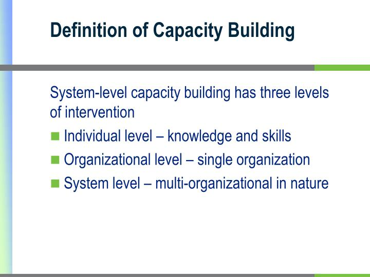 Definition of Capacity Building