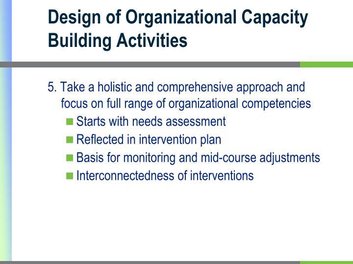 Design of Organizational Capacity Building Activities