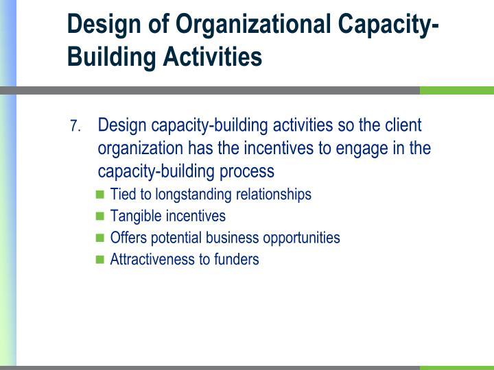 Design of Organizational Capacity-Building Activities