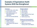 examples of organizations health systems 20 20 has strengthened