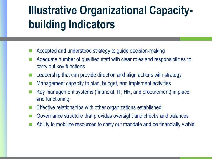 Illustrative Organizational Capacity-building Indicators