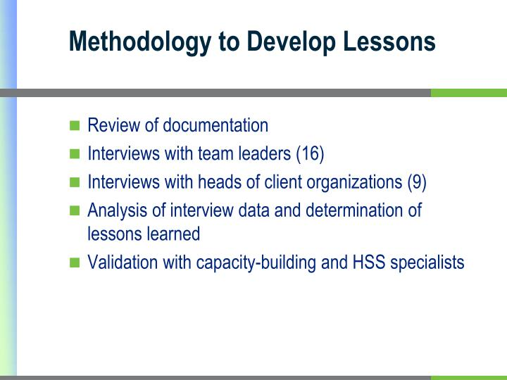 Methodology to Develop Lessons
