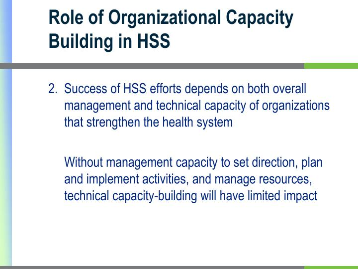 Role of Organizational Capacity Building in HSS