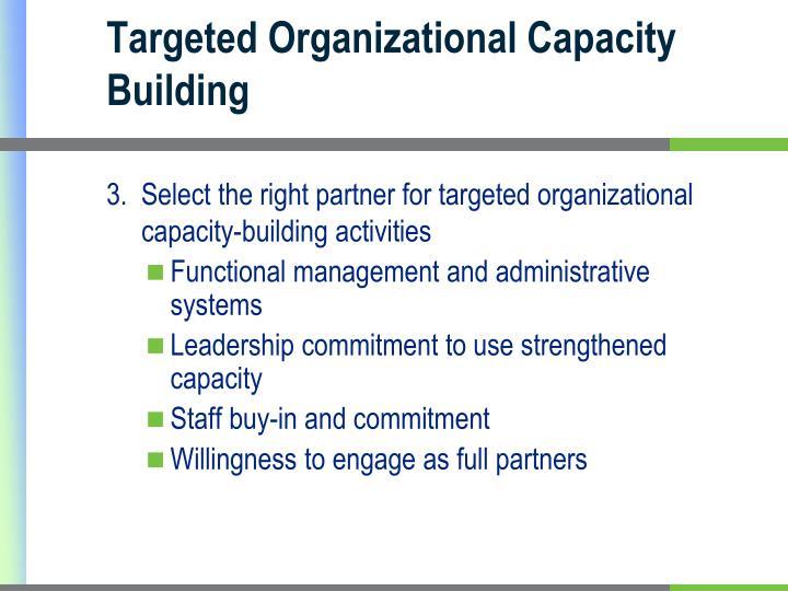 Targeted Organizational Capacity Building