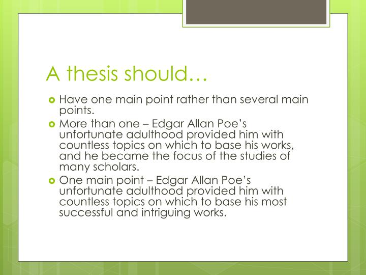 A thesis should…
