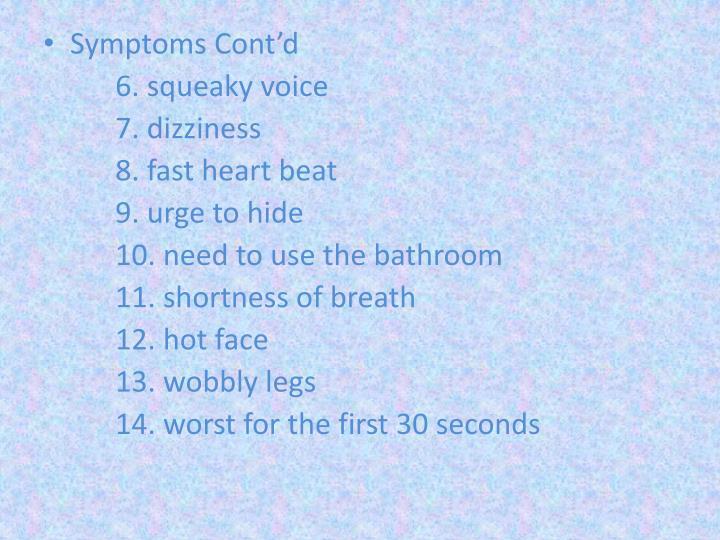 Symptoms Cont'd
