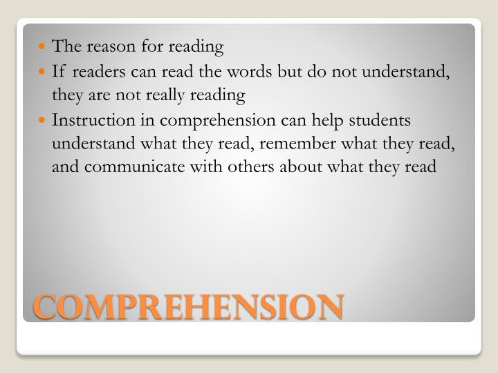 The reason for reading
