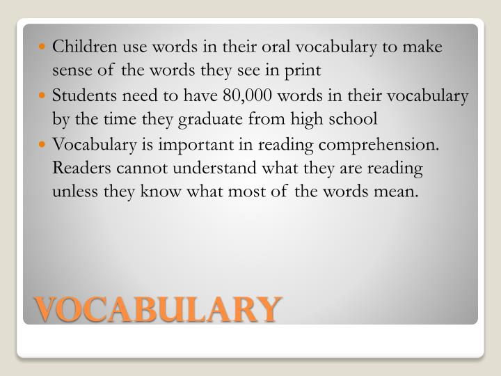 Children use words in their oral vocabulary to make sense of the words they see in print