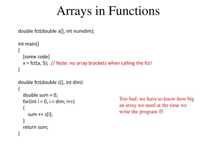 Arrays in Functions