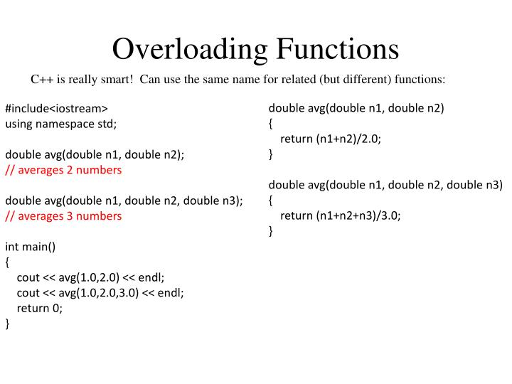 Overloading Functions
