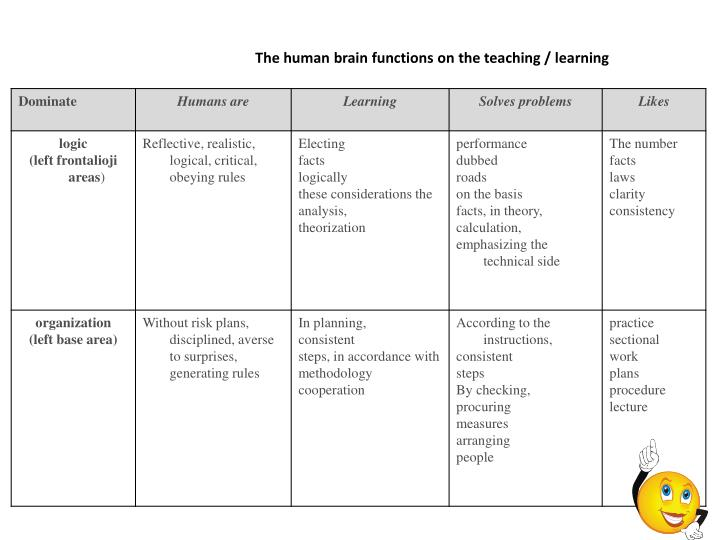 The human brain functions on the teaching / learning