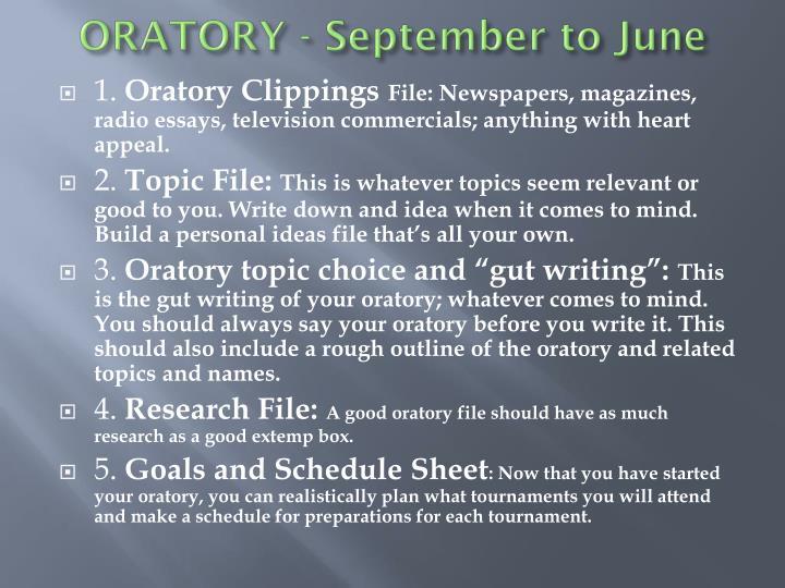 ORATORY - September to June