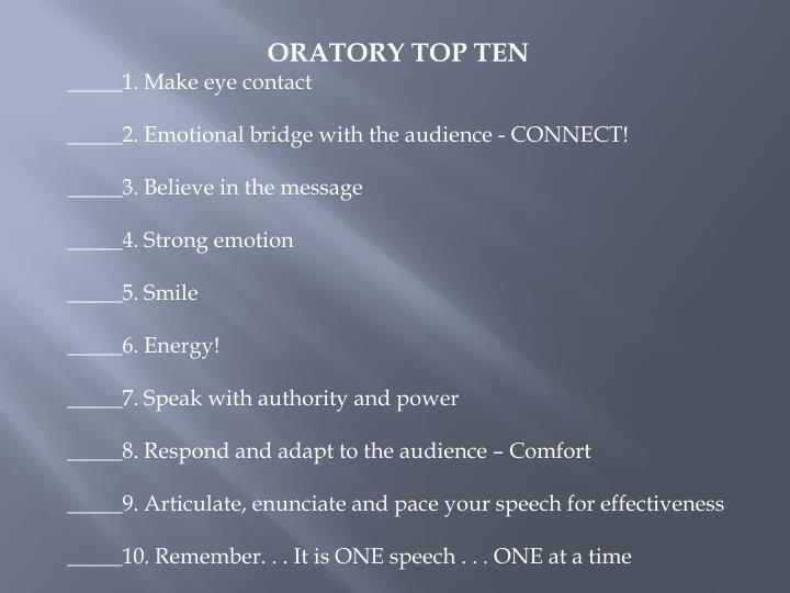 ORATORY TOP TEN