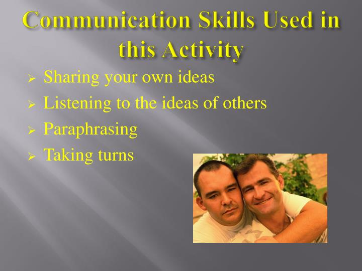 Communication Skills Used in this Activity