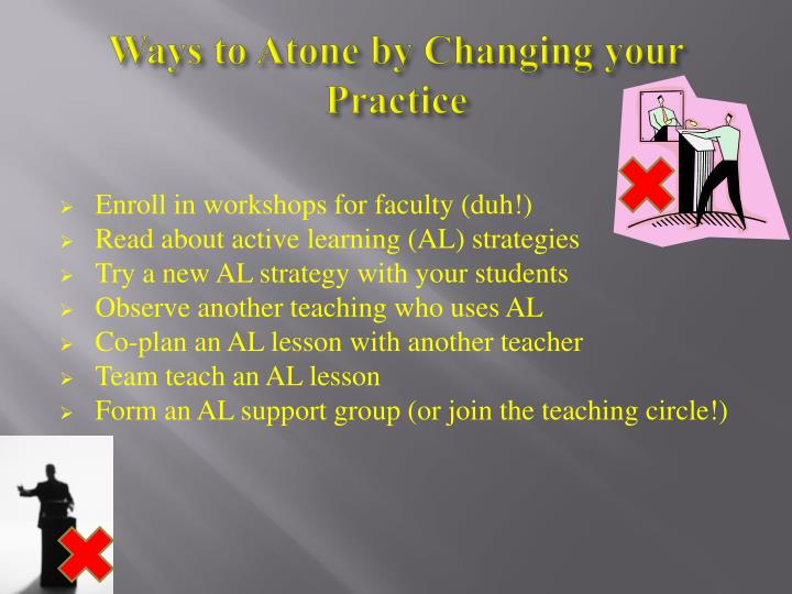 Ways to Atone by Changing your Practice