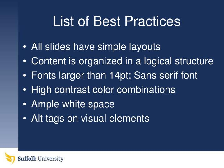 List of best practices