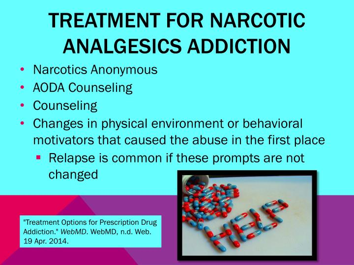 Treatment for narcotic analgesics addiction