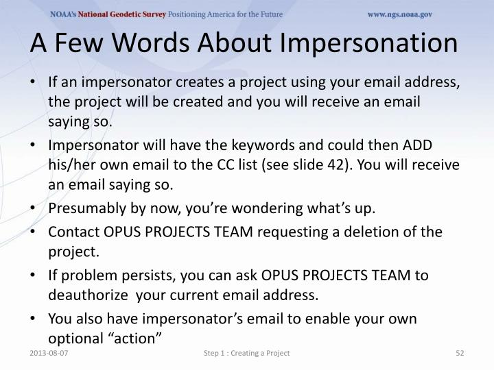 A Few Words About Impersonation
