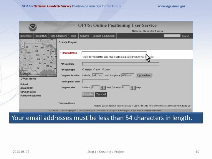 Your email addresses must be less than 54 characters in length.