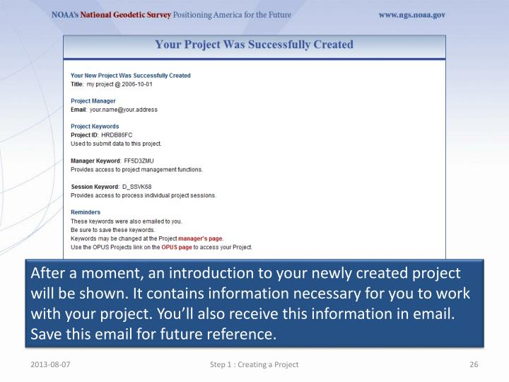 After a moment, an introduction to your newly created project will be shown. It contains information necessary for you to work with your project. You'll also receive this information in email. Save this email for future reference.