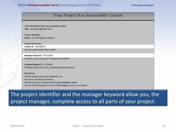 The project identifier and the manager keyword allow you, the project manager, complete access to all parts of your project.