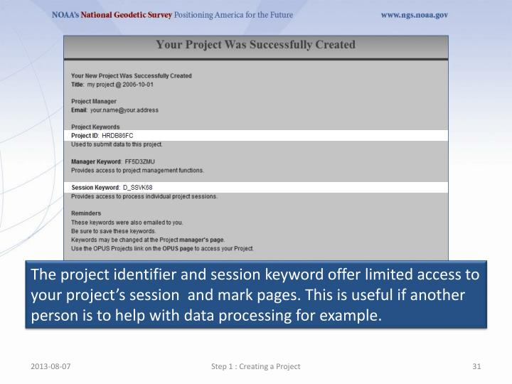 The project identifier and session keyword offer limited access to your project's session