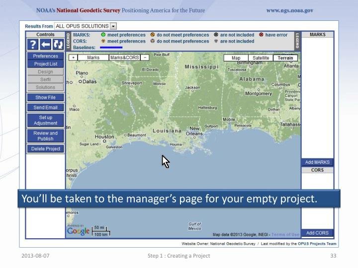Youll be taken to the managers page for your empty project.