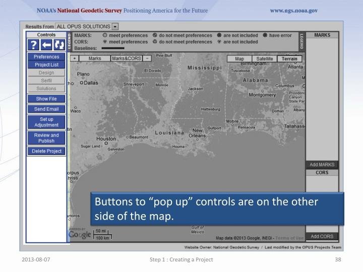 """Buttons to """"pop up"""" controls are on the other side of the map."""