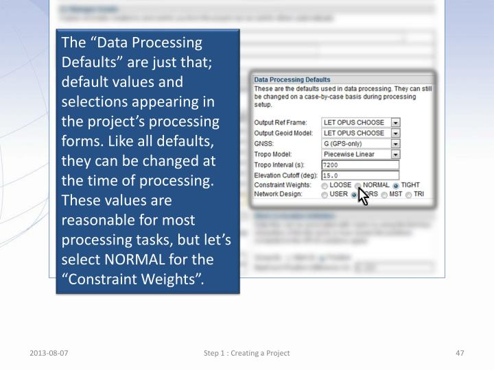 """The """"Data Processing Defaults"""" are just that; default values and selections appearing in the project's processing forms. Like all defaults, they can be changed at the time of processing. These values are reasonable for most processing"""