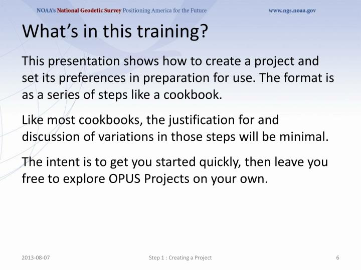 Whats in this training?